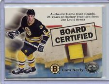 2001-02 FLEER CAM NEELY BOARD CERTIFIED GAME USED BOARDS FROM JOE LOUIS ARENA