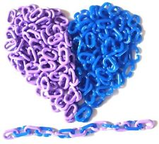 New listing 300 Pc C Chain Links Plastic Neon Toy Parrot Bird Foot Parts Kid Dly Purple Blue