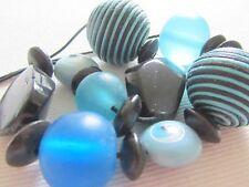 Beautiful Design Blue & Black Necklace, Wood, Stone, Acrylic & Corded Beads 50cm