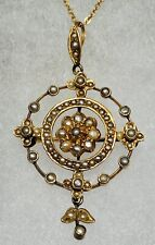 9ct Gold And Seed Pearl Edwardian Holbein Pendant And Chain