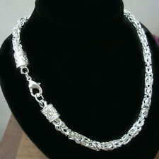 "925Sterling Silver Dragon Head Truely Men Women Chain Necklace 5MM 20"" NY048"