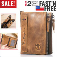 Men's Wallet Real Genuine Leather RFID Zipper Card Holder Short Vintage Bag Brow