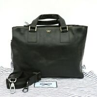 ANYA HINDMARCH Black Leather Dual Top Tassel Zip Detachable Strap Tote Bag GUC