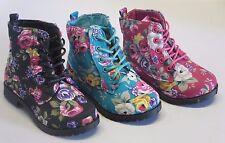 Girl Boots w/Flower Print TODDLER Dress Boots Black Fuchsia Teal (BCT-04i)
