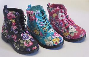 Girl Boots w/Flower Print TODDLER Dress Boots Black Fuchsia Teal (BCT-04i)