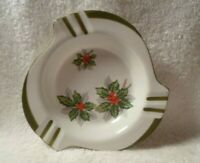 Vintage Japan Norleans Christmas Holiday Ashtray Mid Century Mistletoe Holly