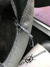 FOR VAUXHALL FIRENZA GREY PERFORATED LEATHER STEERING WHEEL COVER DOUBLE STITCH