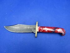 BEAR & SON 6 12 INCH BABY BOWIE DAMASCUS STEEL BLADE RED WHITE AND BLUE HDL