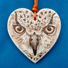 """Natural-eyes"" Eagle Owl Bird Collectable Pendant - OOAK Fine Art Pyrography"
