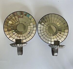Antique 19th C. Mirrored Mosaic Wall Sconce Hanging Candle Holder