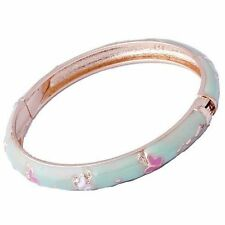 Vogue Womens Yellow Gold Filled clear crystal Enamel Band Bangle Bracelet