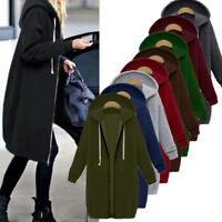 Women Fashion Zipper Open Hoodie Sweatshirt Long Coat Jacket Top Outwear Plus