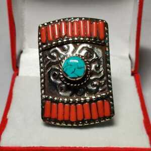 Genuine Turquoise&Coral Gemstone Large Octagon Shape Handmade Sterling Silver