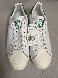 Adidas Superstar Stan Smith Mens 9.5 White/Green NIB DS
