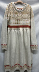 Hanna Andersson Sweater Dress Gray/Red/Tan Fair Isle Girls Size 140 US 10