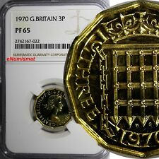 Great Britain Elizabeth II PROOF 1970 3 Pence NGC PF65 LAST YEAR FOR TYPE KM#900