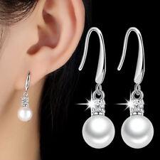 Real 925 Silver Women AAAA Crystal Pearl Drop Earrings Wedding Jewelry
