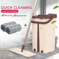 Flat Squeeze Mop And Bucket Hand Free Wringing Floor Cleaning Microfiber Mops AC