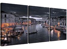 BLACK AND WHITE VENEZIA CANAL GRANDE ITALIA-Tela SPLIT 3 pannello di larghezza 125cm
