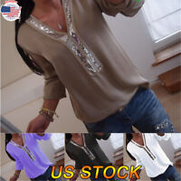 Hot New Women Long Sleeve Blouse Loose V-Neck Sequins Tops Ladies Office Shirts
