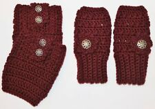 Handmade Crochet Set Burgundy Finger less Gloves Hand Warmers &  Boot Cuffs