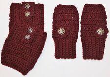 Handmade Crochet Set Burgundy Finger less Gloves Hand Warmers &  Boot Cuffs
