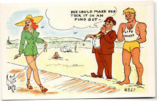 We Could Make Her Tuck It In and Find Out Comic Risque Postcard c1950