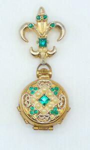 🎆  Vintage Signed CORO Four Way Locket Gold Tone Rhinestone Pearls Brooch Pin