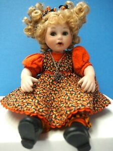 "5"" Marie Osmond Porcelain 2006 Tiny Tots Doll, #1397, Orange Dress"