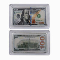 New Usd 100 999.9 Silver Plated Gold Banknote Metal Bar Metal Crafts Gifts