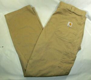 CARHARTT Relaxed Fit Carpenter Pants~Tough Cotton Twill~Men's 38x32~Tan~EUC!