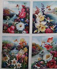 "New 100% Cotton 44"", Elizabeth's Studio, ""Hummingbird Bouquet"" Flowers, Nature"