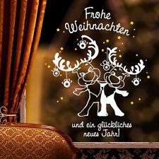 10449 Sticker mural Fenêtre Autocollant Joyeux Noël élan étoiles hiver