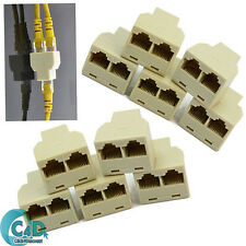 10x RJ45 Cat 5e Cat6 Network LAN Cable Y Splitter 2 Way Adapter 3 Ports Coupler