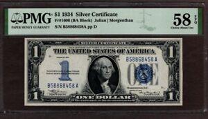 1934 $1 Silver Certificate, PMG 58 EPQ, Toning