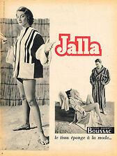 PUBLICITE ADVERTISING 025  1954  JALLA peignoirs de bain TISSUS éponge BOUSSAC