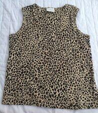 Liz Claiborne Animal Print Vest Top Cami Size Medium Brown Tiger 100% Cotton