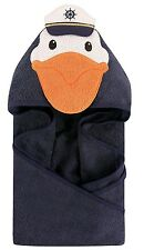 HUDSON BABY Animal Face Hooded Baby Toddler Towel BLUE CAPTAIN PELICAN