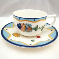Mikasa Fashion Plate OCEAN COLLAGE DX012 Cup & Saucer Set(s) EXCELLENT