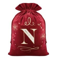 Christmas Secret Santa Alphabet Luxury Stocking Sack Red Initial N Velvet 75x55