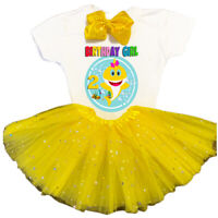Baby Shark 2nd Second Birthday Yellow Tutu Outfit Girl Shirt Headbow