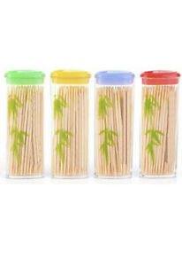4 Pack Wooden Dental Tooth Picks Bamboo Toothpicks Portable Case Oral Hygiene