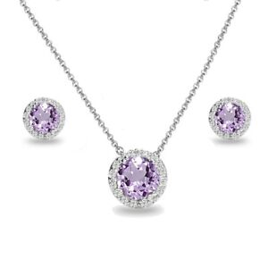 Round Halo Amethyst & White Topaz Necklace & Stud Earrings Set in 925 Silver