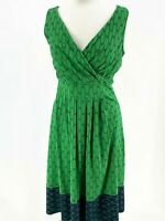 Lands' End Women Size S TALL Fit Flare Sleeveless Dress Stretch V-neck