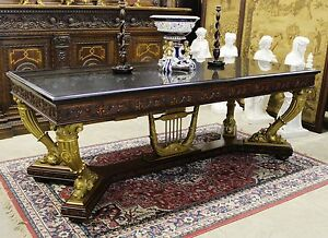 """Antique Gold Neoclassical French Table or Desk C 1890 1 1/4"""" Thick Granite Top"""