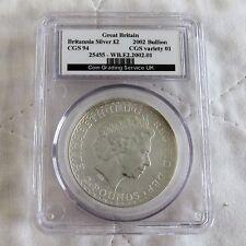 2002 1oz £ 2 Plata Britannia destrozado CGS 94