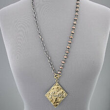 Copper Color Chain Beaded Gold Hammered Diamond Shaped Follow Pendant Necklace