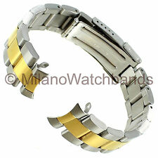 18/20mm Graham Center Clasp Two Tone Curved End Stainless Watch Band T599