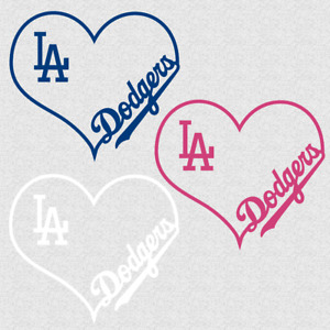 Los Angeles Dodgers With Heart Decal Sticker