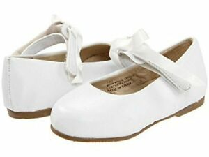 NIB Pazitos White Dress Shoes Classic Ballerina Mary Jane Bow 22 24 5.5 7